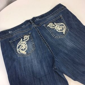 Torrid Jeans Thick Stitching Leather Pocket Trim